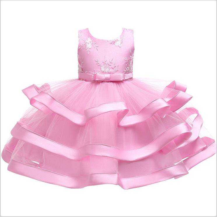 Lace Flower Girl Dress Layered Wedding Formal Perform Princess Party Tutu Gown Children Clothes pink
