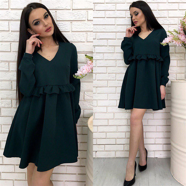 Women Casual Dress Autumn V Neck Long Sleeve Solid Ruffle Mini Club Party Dress hunter green
