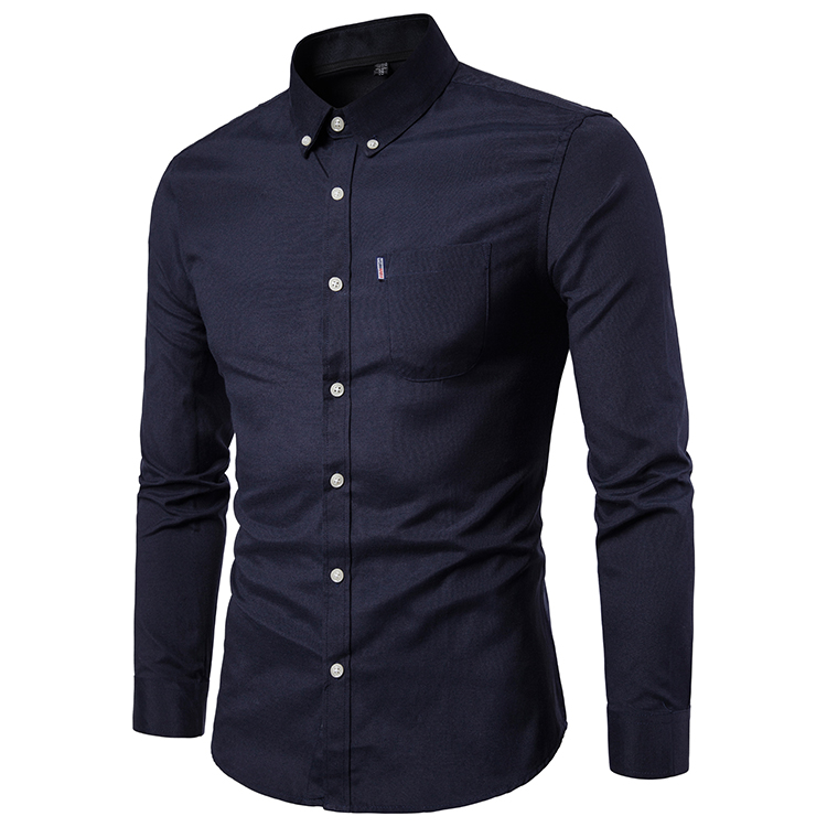 Men Shirt Spring Autumn Long Sleeve Turn-down Collar Single Breasted Plus Size Business Formal Casual Slim Fit Shirt black