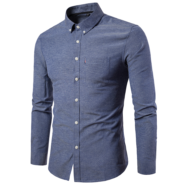 Men Shirt Spring Autumn Long Sleeve Turn-down Collar Single Breasted Plus Size Business Formal Casual Slim Fit Shirt gray