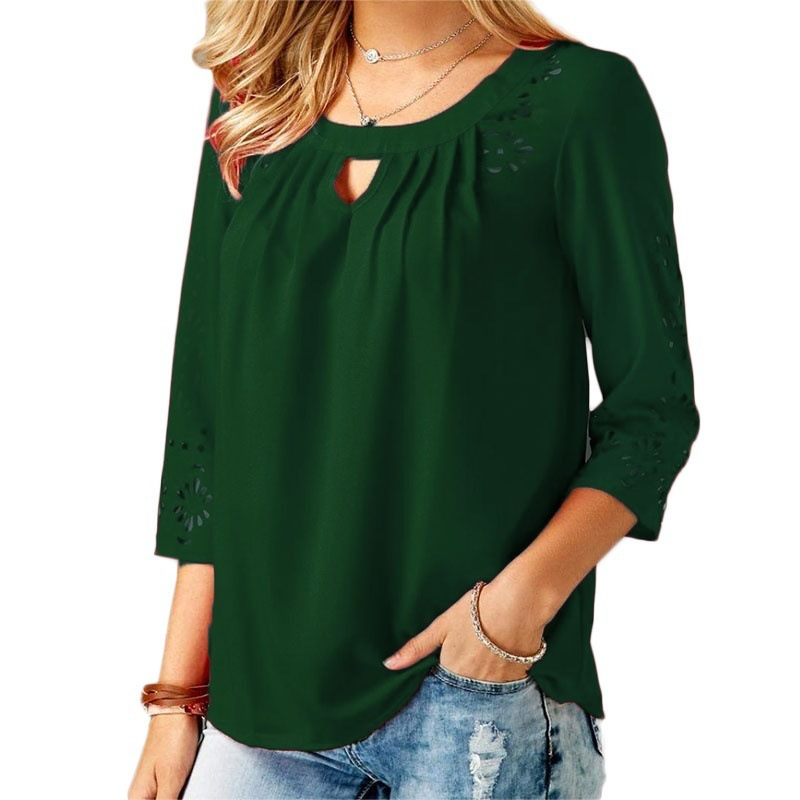 a6655f07c4db8 Women Blouse Spring Autumn Hollow Out 3 4 Sleeve Plus Size Casual Loose  Pullover Tops hunter green