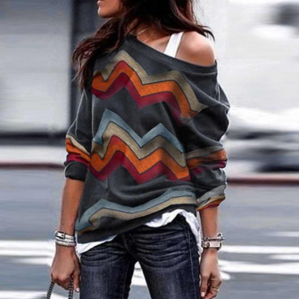 Women Long Sleeve T Shirt Spring Autumn Off Shoulder Casual Geometric Printed Pullover Tops gray