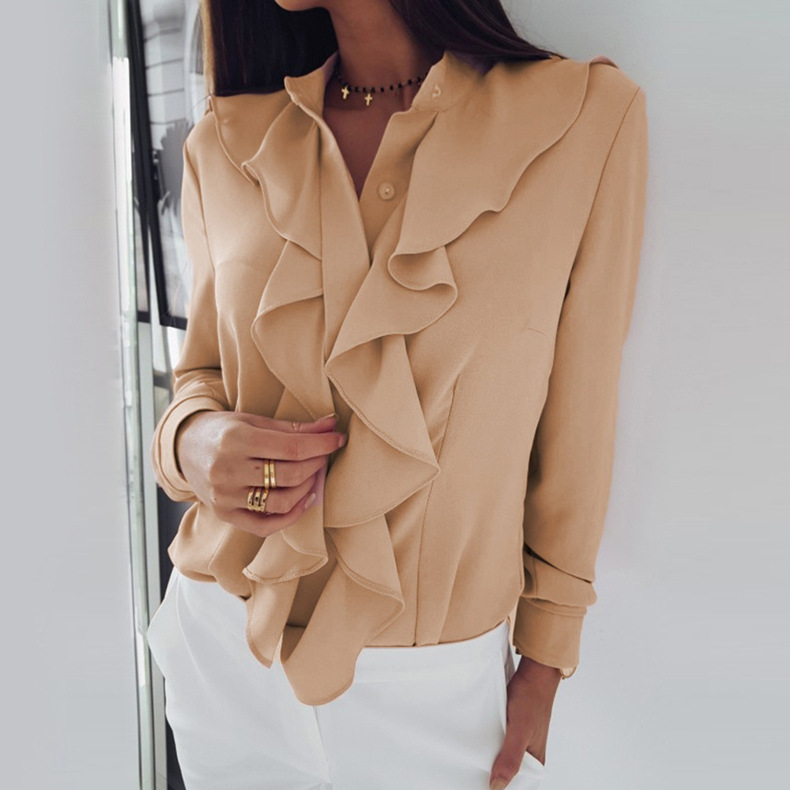 Women Blouse Spring Autumn Ruffles Long Sleeve Casual Slim Work Office OL Top Shirt apricot