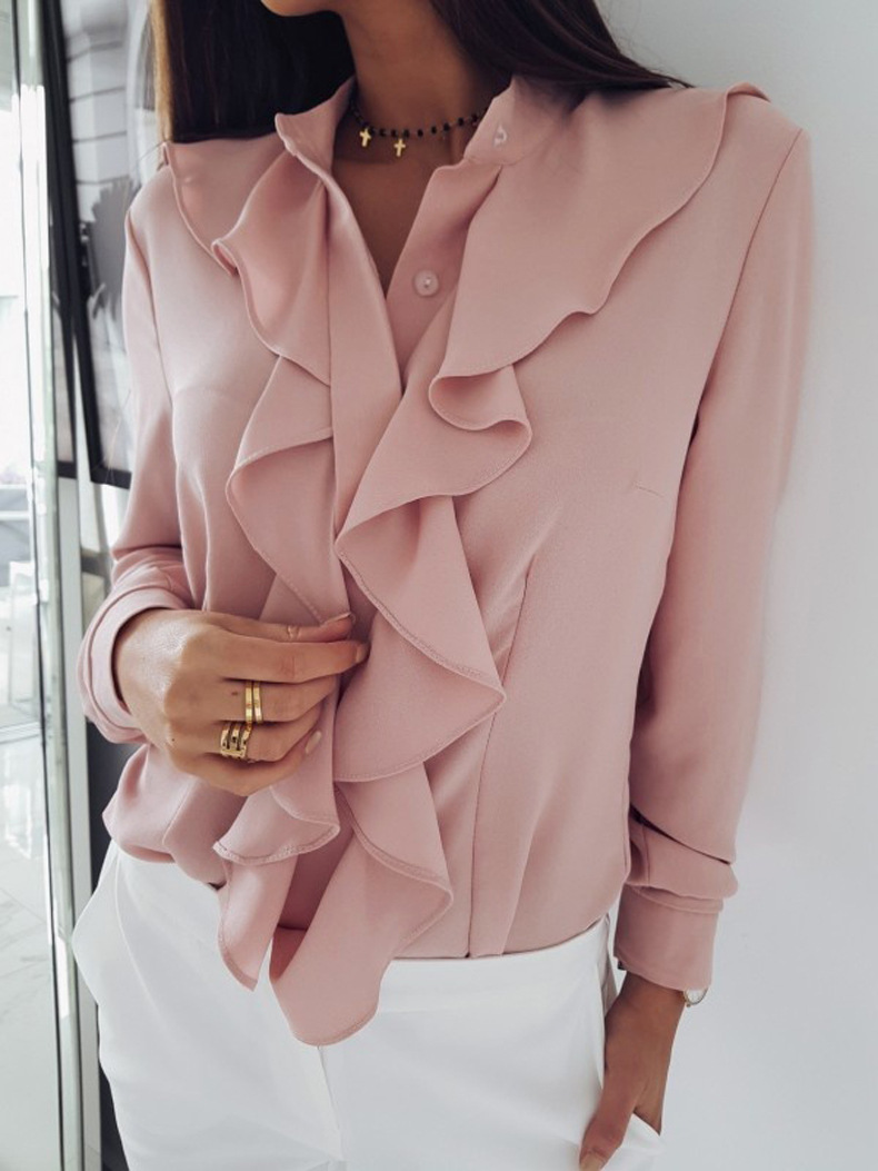 Women Blouse Spring Autumn Ruffles Long Sleeve Casual Slim Work Office OL Top Shirt pink