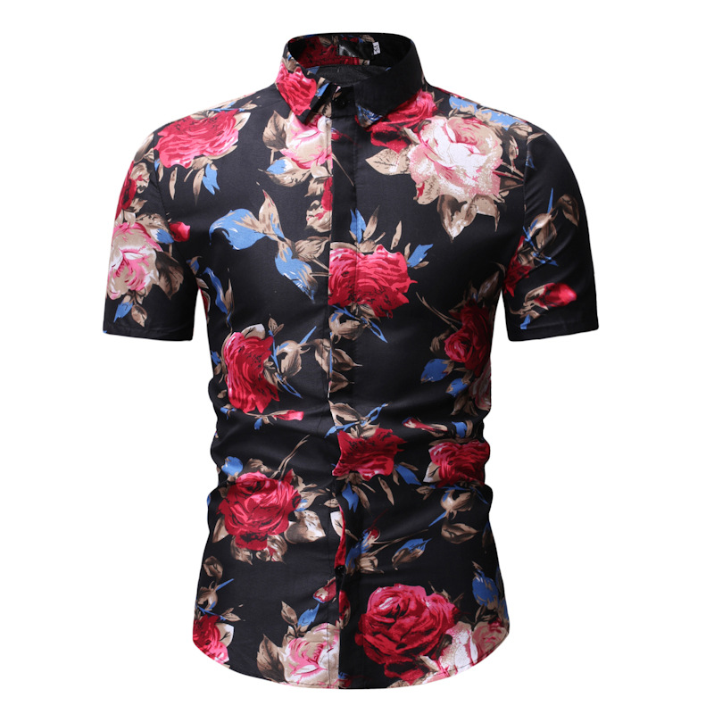 Men Floral Printed Shirt Summer Beach Short Sleeve Hawaiian Holiday Vacation Casual Slim Fit Shirt 21#