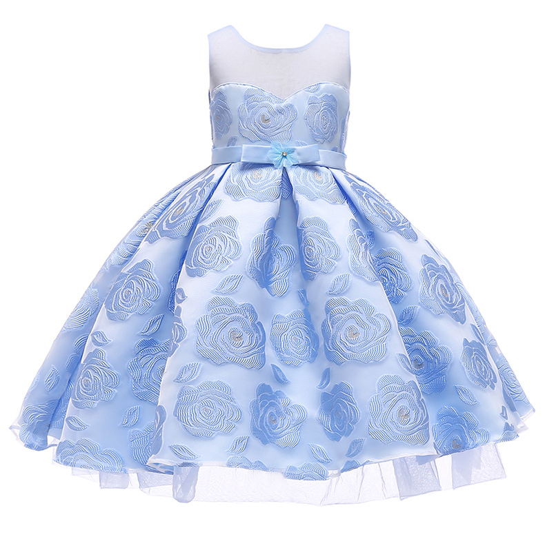 Floral Flower Girl Dress Princess Wedding Formal Birthday Party Tutu Gown Children Clothes light blue