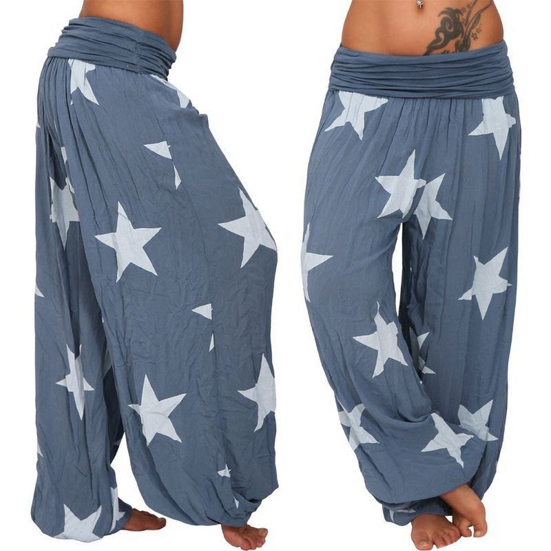 Women Star Printed Lantern Pants Elastic Waist Plus Size Hippie Baggy Casual Loose Wide Leg Trousers blue