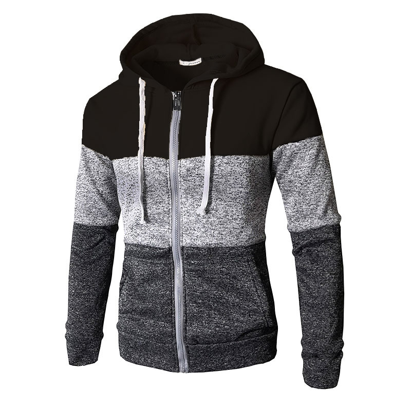 Men Hoodies Patchwork Color Long Sleeve Hooded Zipper Casual Slim Cardigan Sweatshirt black