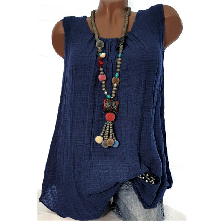 Women Sleeveless T Shirt O Neck Cotton Linen Casual Loose Plus Size Summer Vest Tops navy blue