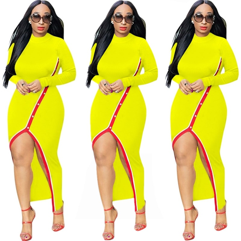 b9a7d997f765 Women Maxi Dress Long Sleeve Sexy Pearls Split Casual Bodycon Night Club  Party Dress yellow
