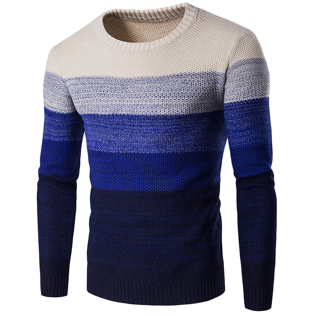 Men Knitted Sweater O Neck Striped Patchwork Casual Long Sleeve Slim Fit Pullover Tops blue