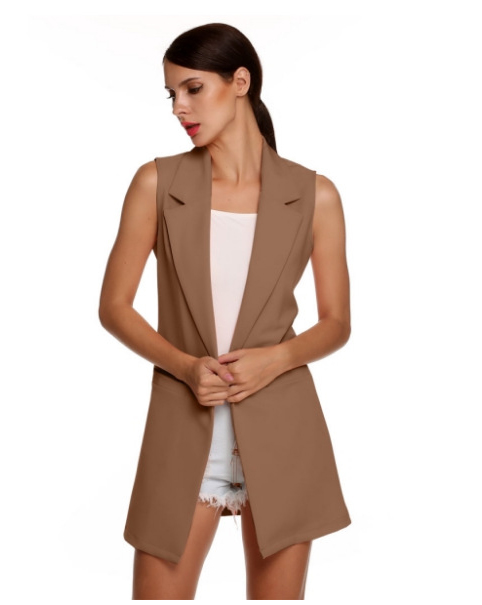 Women Waistcoat Spring Autumn Lapel Neck Work Office Casual Long Vest Slim Sleeveless Coat khaki