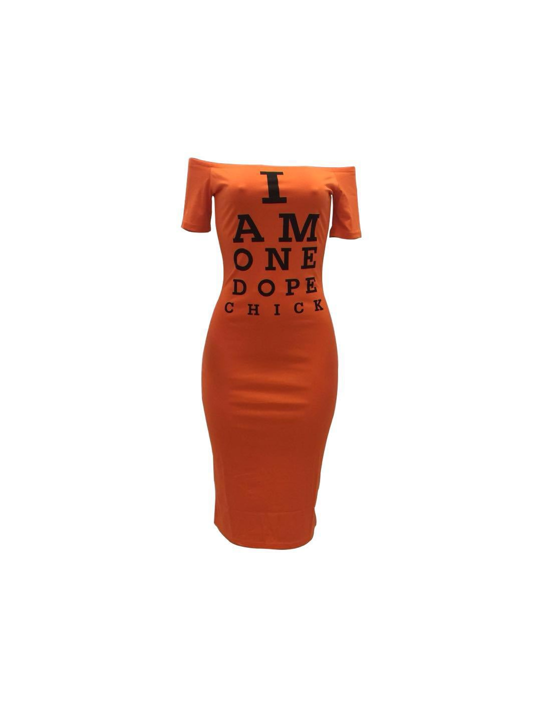 Women Pencil Dress Off Shoulder Short Sleeve Letter Printed Bodycon Midi Club Party Dress orange