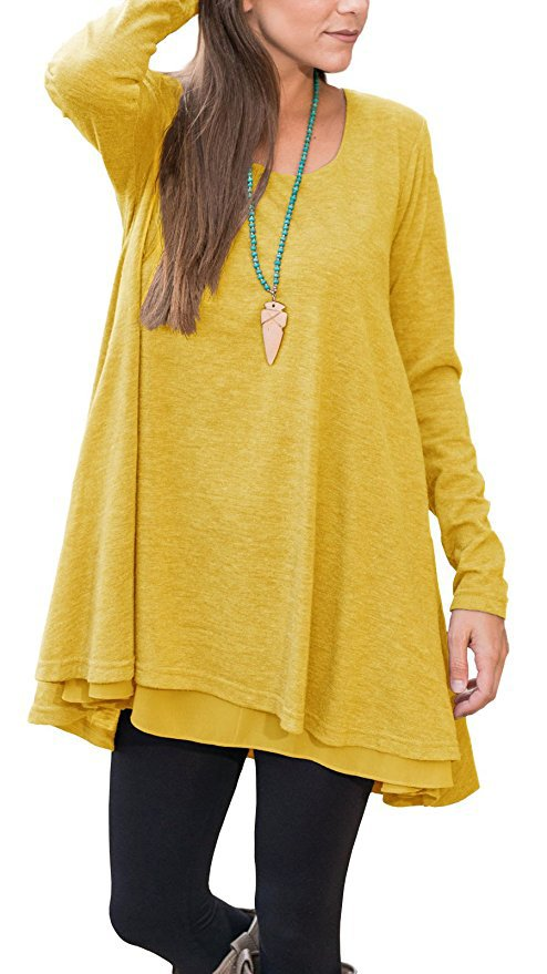 Women Long Sleeve Dress Autumn Spring O-neck Casual Loose Mini Asymmetrical T-Shirt Dress yellow