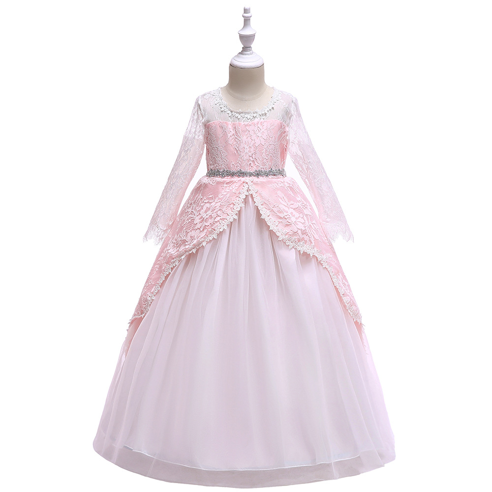 9c1252d614 Long Sleeve Flower Girl Dress Lace Wedding Formal Birthday Party Princess  Gown Kids Children Clothes Pink