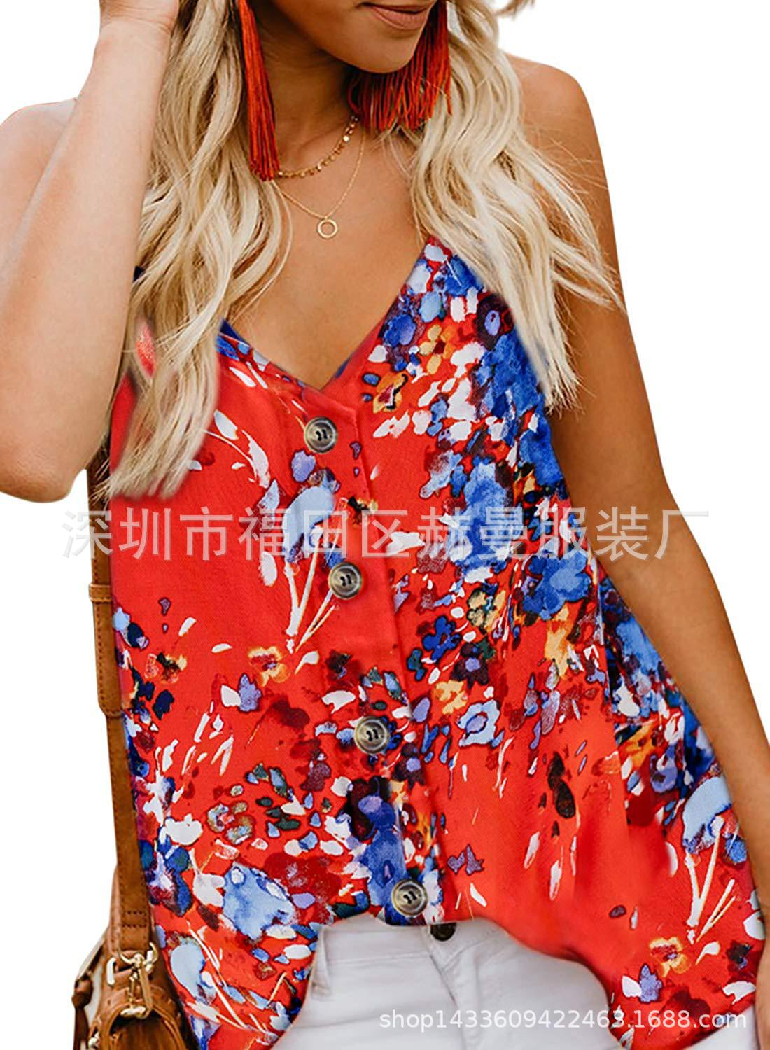 Women Button Tank Top Spaghetti Strap V Neck Summer Causal Loose Sleeveless Vest Tops floral red