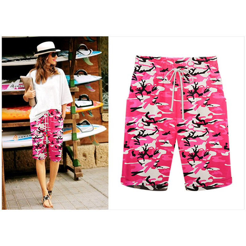 Women Camouflage Shorts Drawstring Elastic Waist Knee Length Summer Casual Loose Trousers red