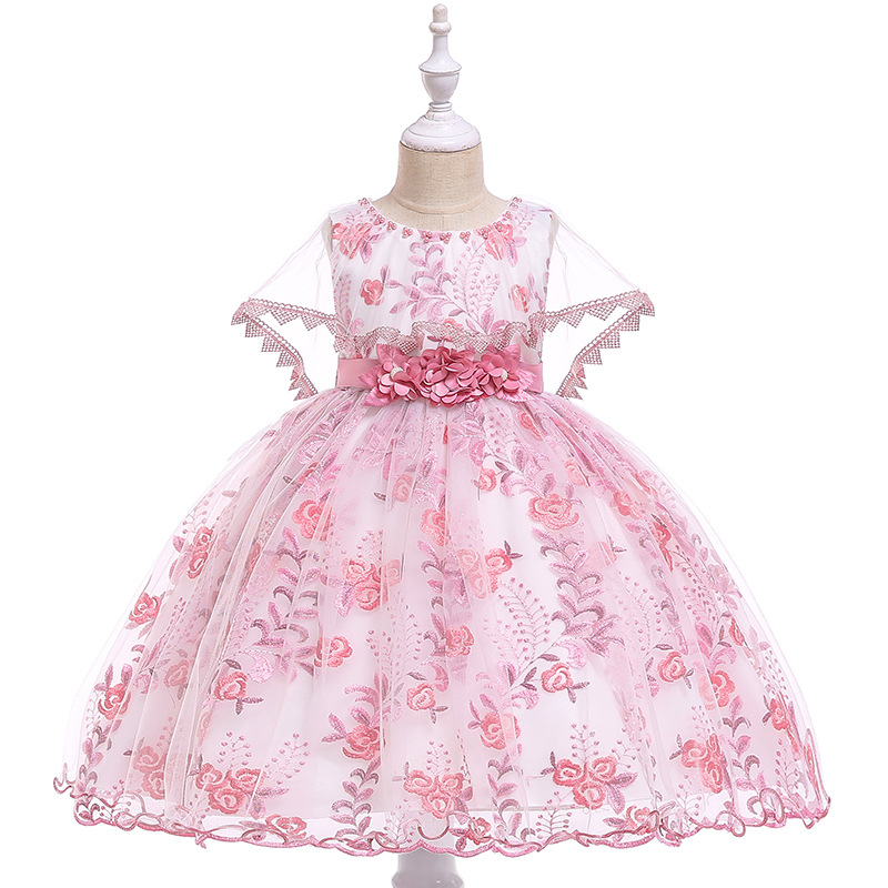 Embroidery Lace Flower Girl Dress Princess Birthday Formal Party Ball Gown Children Kids Clothes bean pink