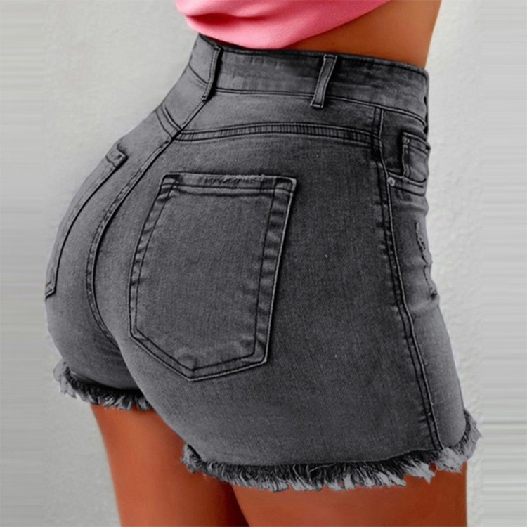 Women Denim Shorts Summer High Waist Ripped Hole Tassel Casual Slim Bodycon Short Jeans gray