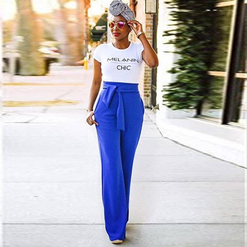 Women Wide Leg Pants High Waist Belted Casual OL Work Office Long Palazzo Trousers blue