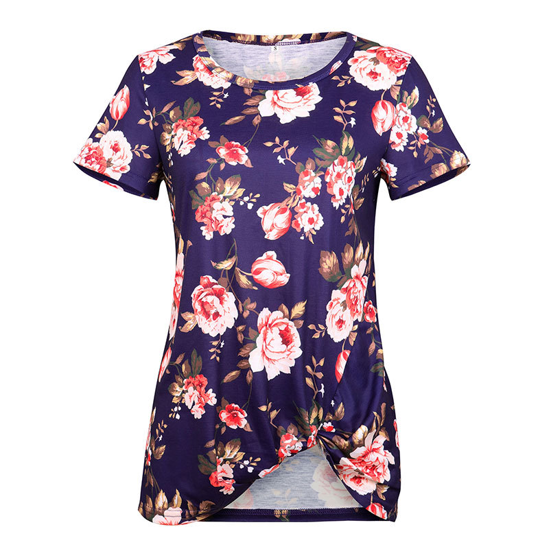 Women Short Sleeve T Shirt O Neck Summer Tie Asymmetrical Casual Loose Tee Tops navy blue floral
