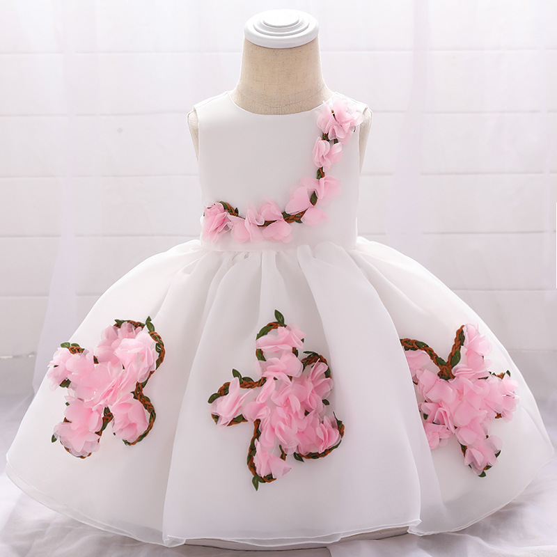 Sweet Flower Girl Dress Floral Newborn Christening Baptism Party Birthday Tutu Gown Baby Kids Clothes white+pink