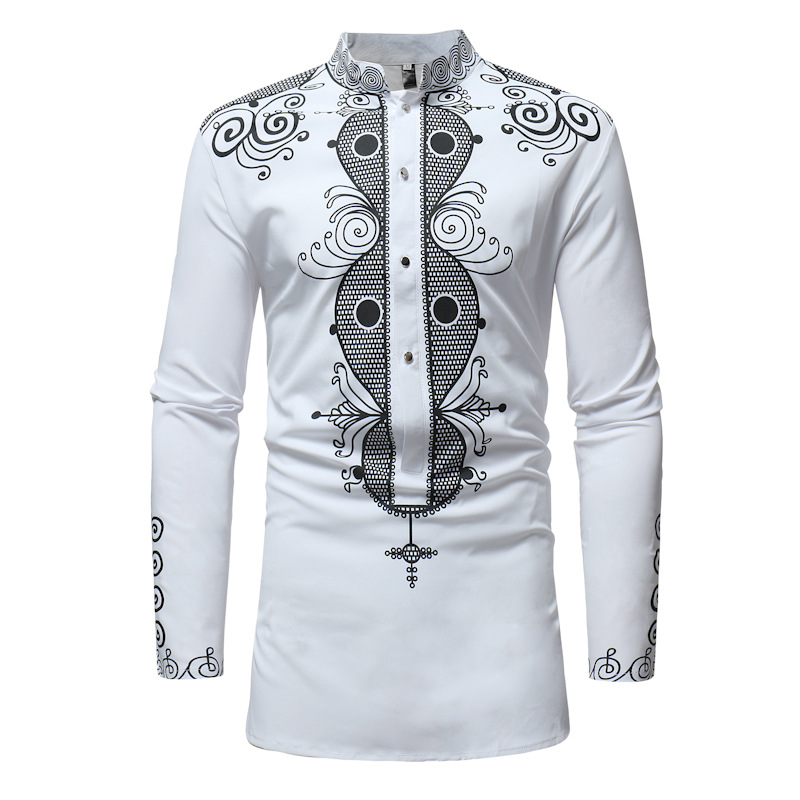 Men African Printed Shirt Stand Collar Tribal Ethnic Casual Slim Fit Long Sleeve Shirt white