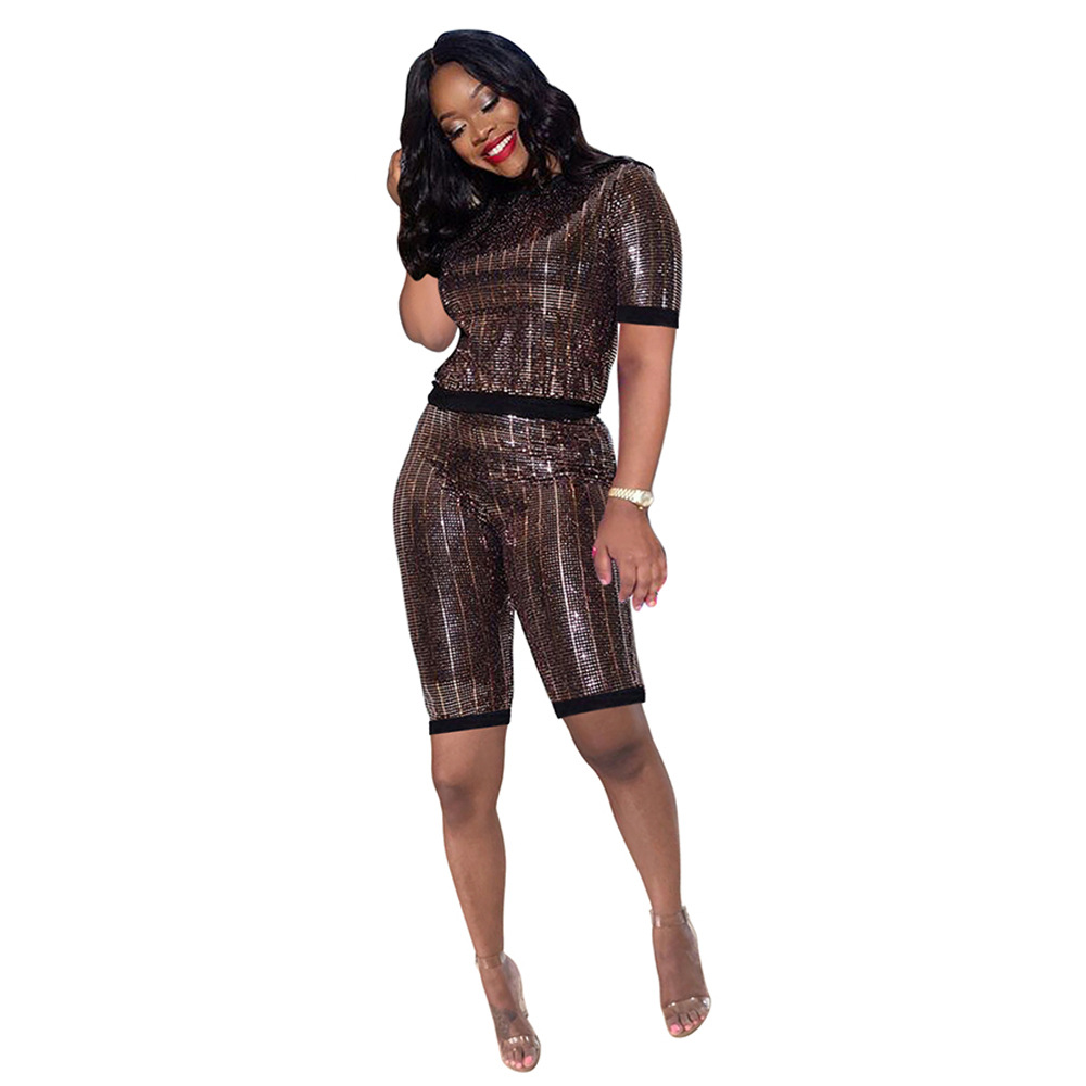 Women Tracksuit Short Sleeve T Shirt + Summer Shorts Sequined Two Piece Set Night Club Party Outfits brown