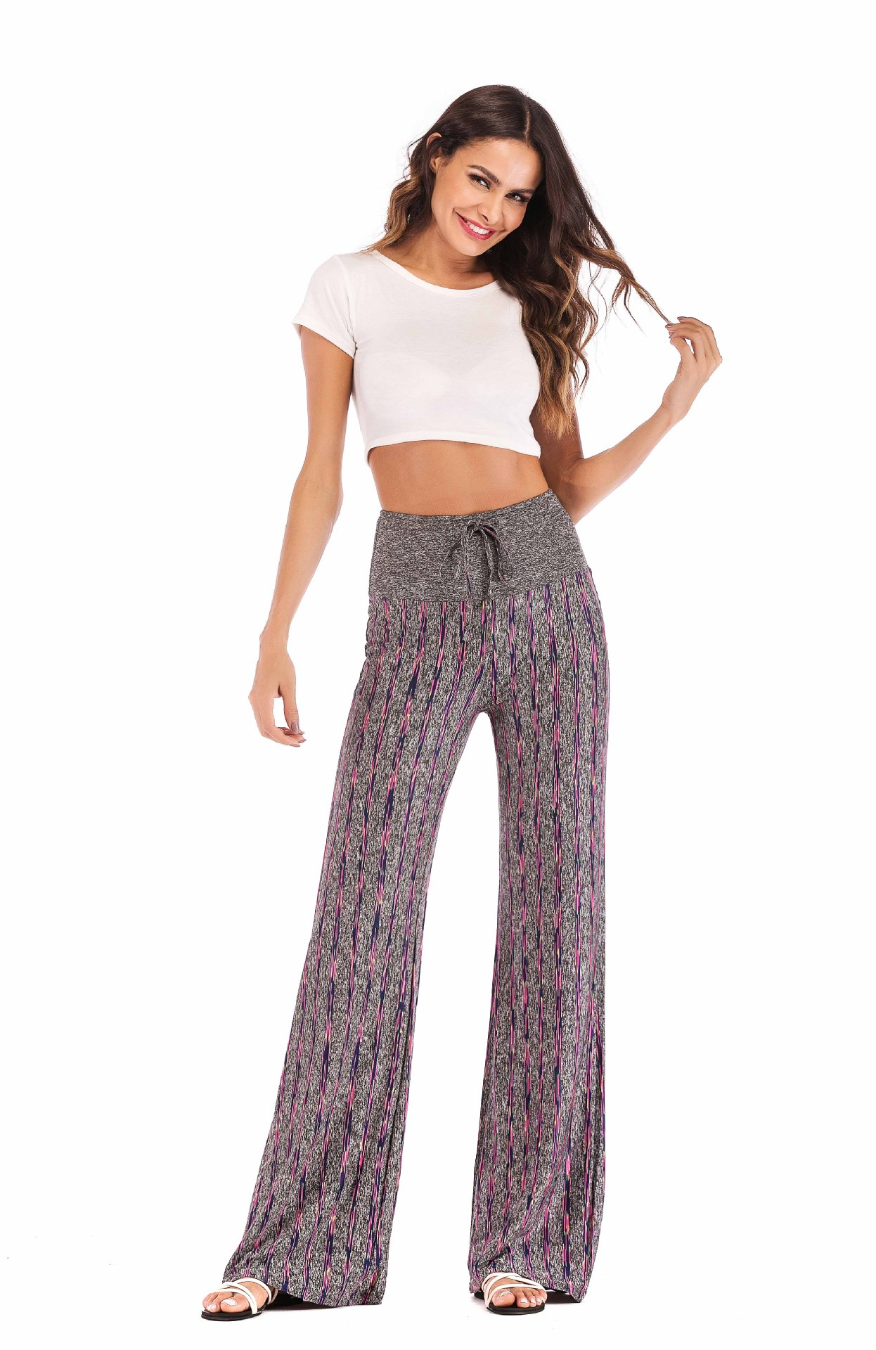 Women Striped Pants Drawstring High Waist Yoga Sports Casual Loose Long Trousers purple