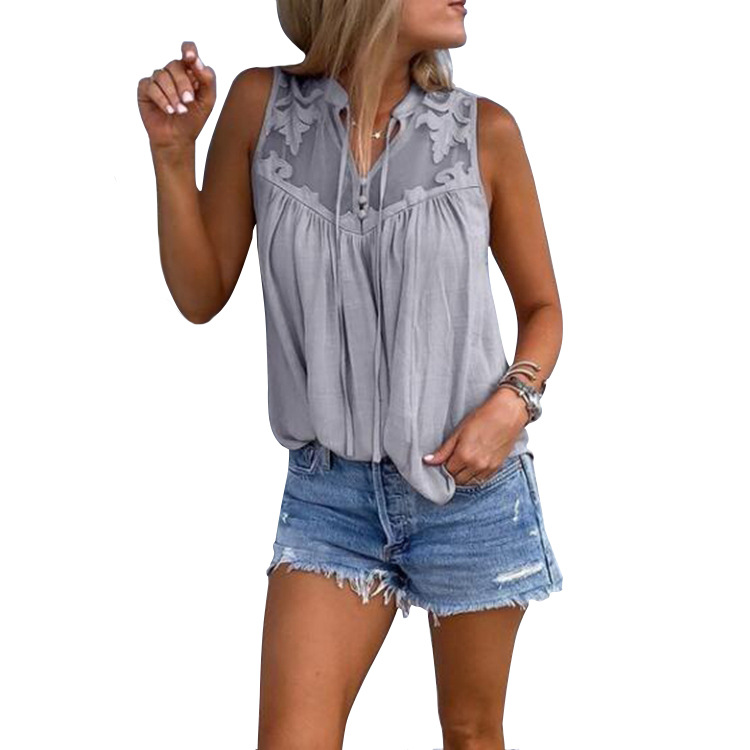Women Tank Tops Summer Beach Casual Loose Vest V-Neck Patchwork Plus Size Sleeveless T-Shirt gray