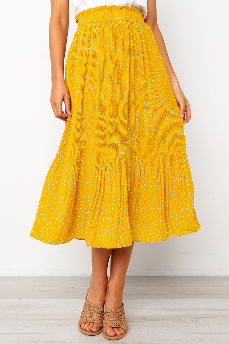 Women Polka Dot Pleated Skirt Spring Summer Pocket Elastic Waist Boho Beach Midi Long Skirt yellow