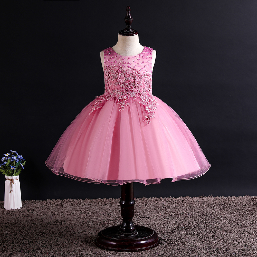 Lace Flower Girl Dress Princess Wedding Birthday Formal Tutu Party Gown Children Kids Clothes pink