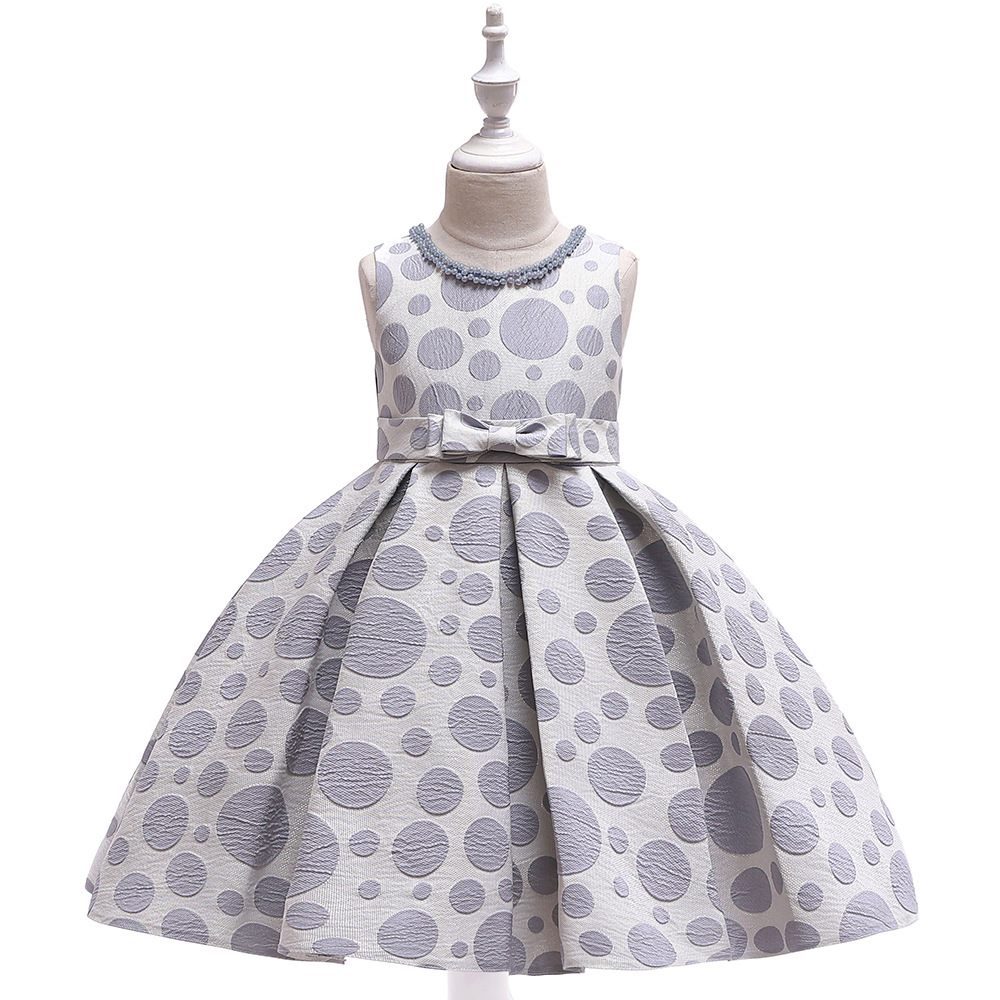 Polka Dot Flower Girl Dress Princess Formal Party Birthday Tutu Gown Kids Children Clothes gray