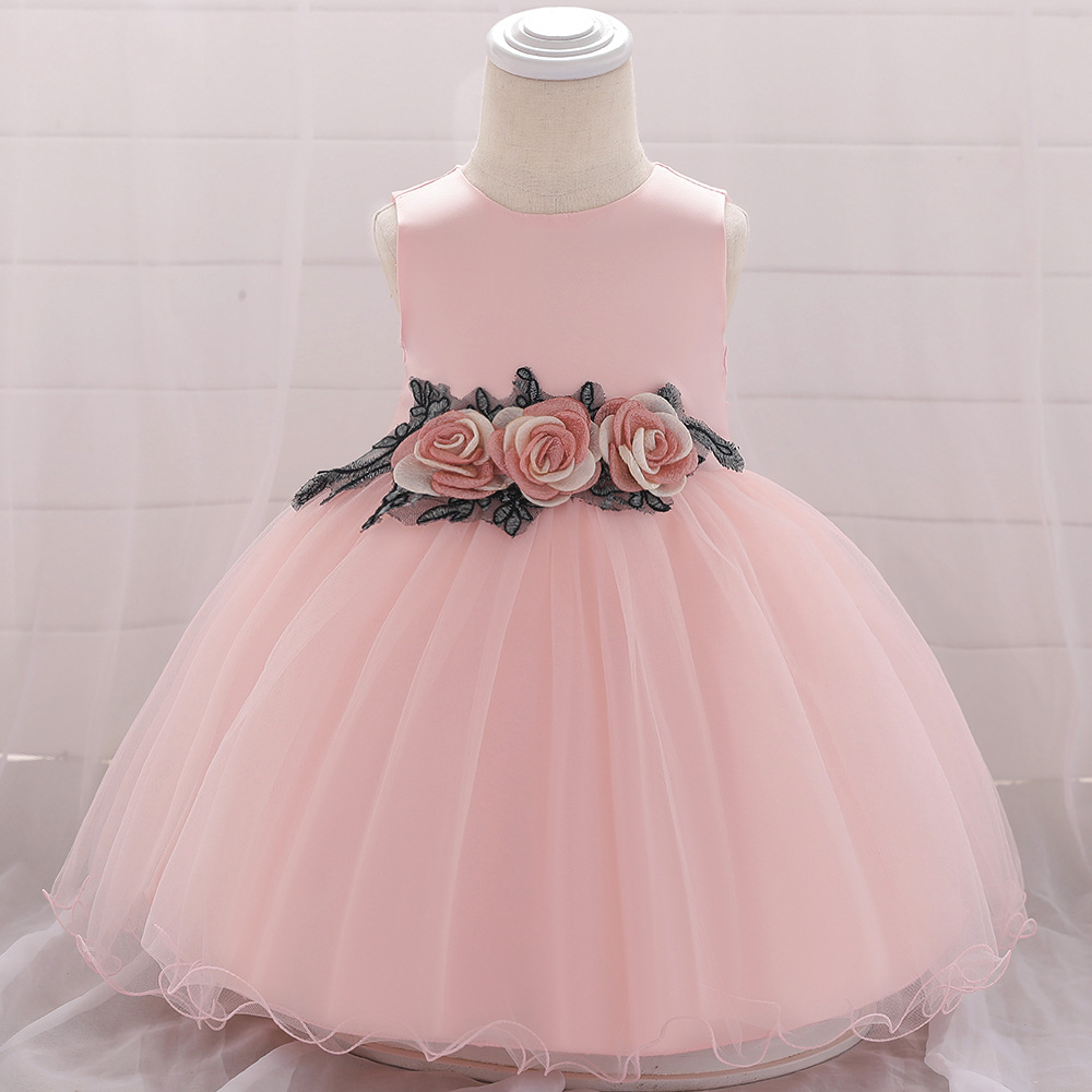 Baby Girls Dress Flower Tutu Princess Birthday Baptism Party Gown Kids Children Clothes pink