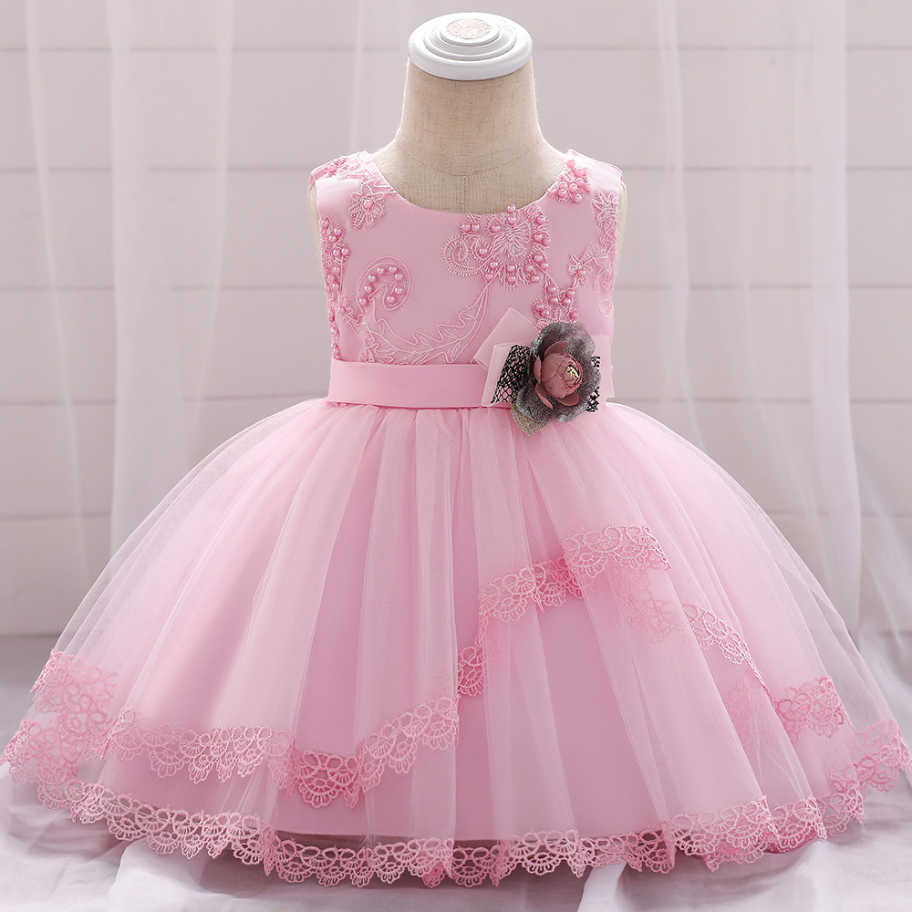 Lace Flower Girls Dress Tutu Newborn Wedding Birthday Baptism Party Gown Baby Kids Clothes pink