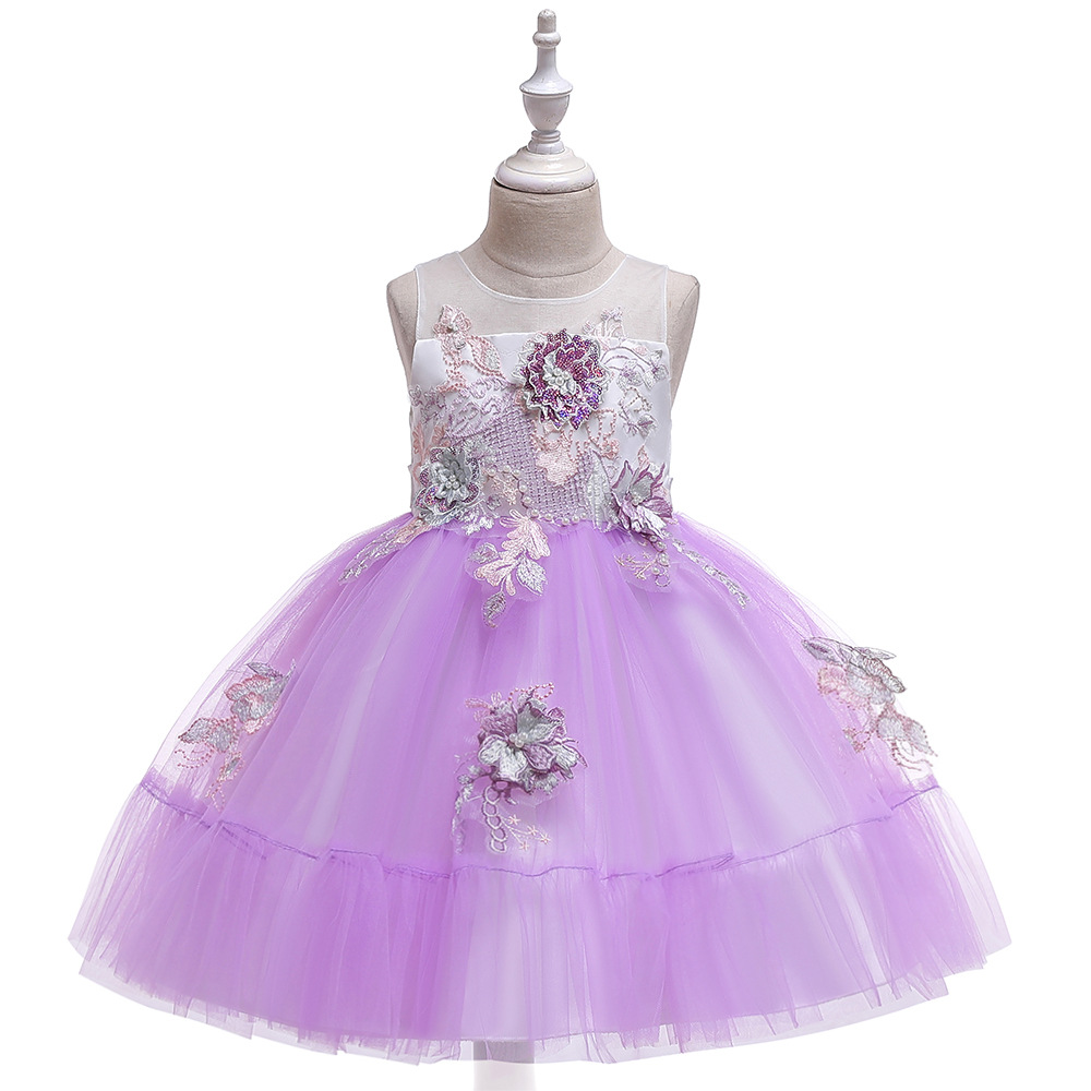 Applique Flower Girl Dress Princess Tutu Evening Birthday Party Formal Gown Children Kids Clothes lilac