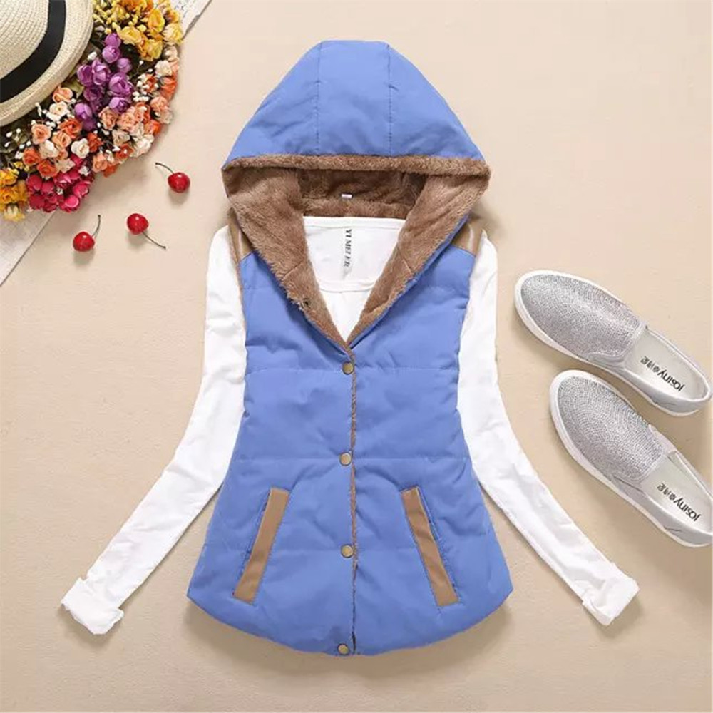 Women Hooded WaistcoatLadies Sleeveless Winter Gilet Fleece Hoodies Coat Jacket