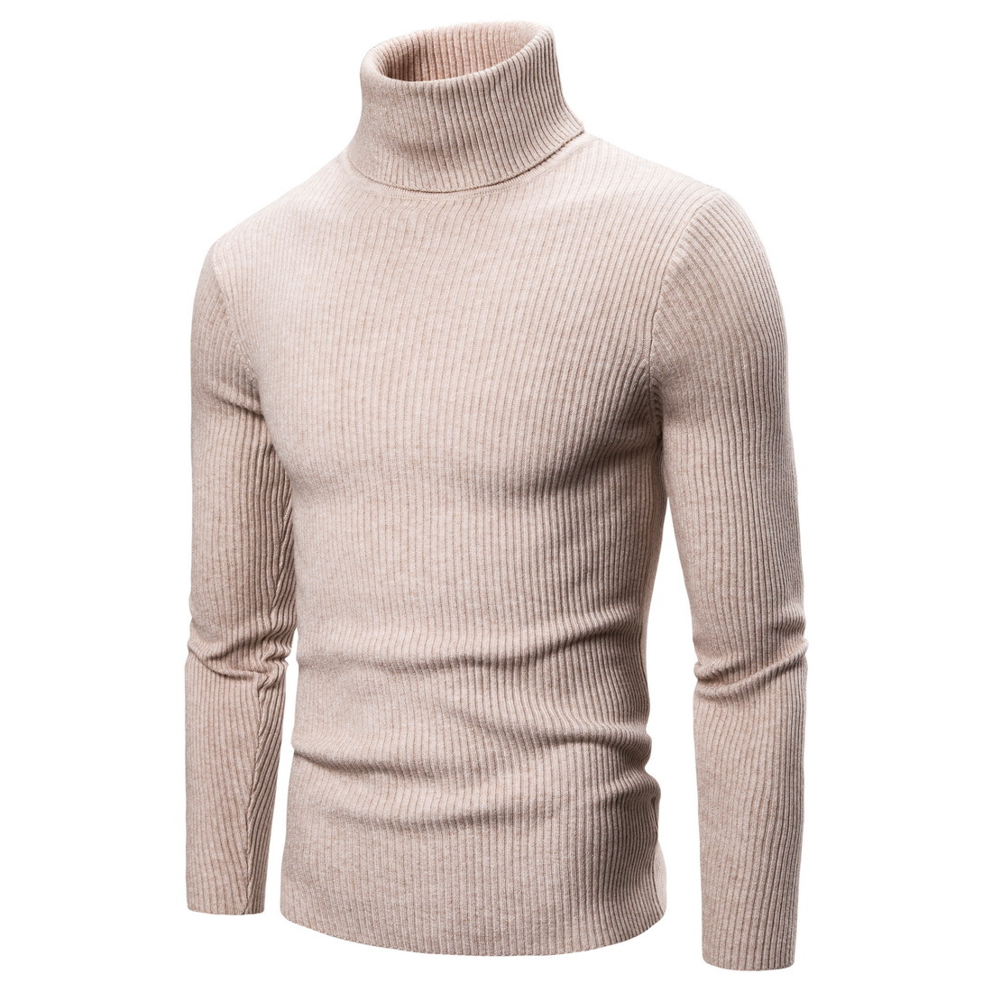 New Spring Autumn men Sweaters Clothing High Elastic Base Shirt High Lapel Solid Color Mens Sweaters khkai