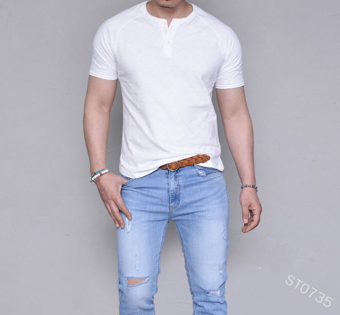 Mens Short Sleeve T Shirt 2019 New Summer Fashion Sexy Solid Color Casual Breatnable Comfortable Shirt Tops white