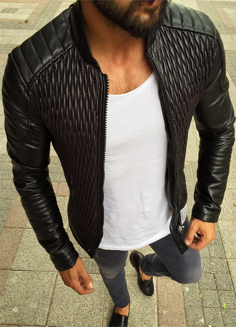 Men PU Leather Jacket Classic Motorcycle Leather Jacket New Design Biker Jacket Male Outerwear Coat Clothes