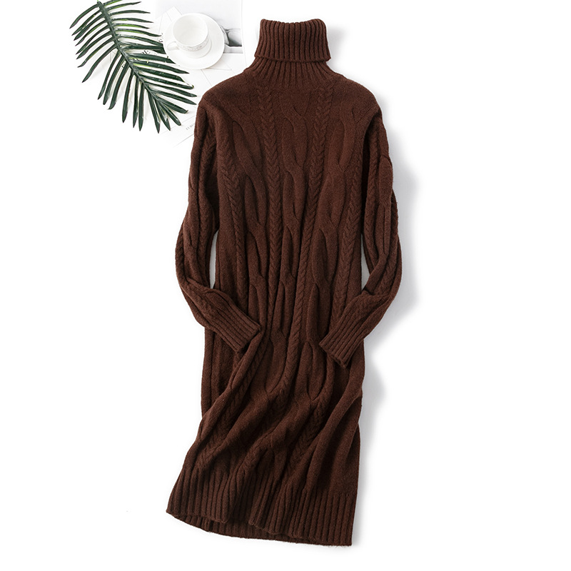 women Autumn new sweater dress high-necked mid-length knitted loose solid color wild twist cross-border winter skirt