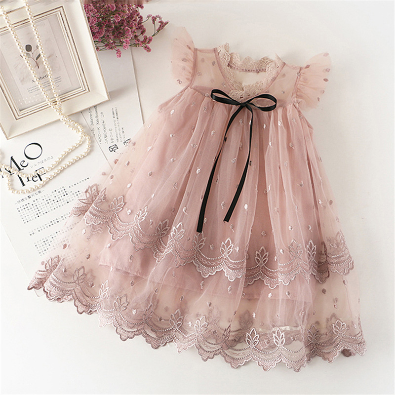 flower Girls Dress New Summer Mesh Girls Clothes Applique Princess Children Summer Clothes Baby Girls Dress