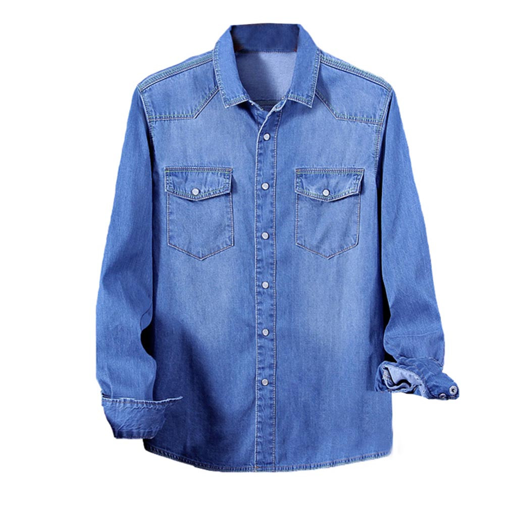 Men Denim shirt Long Sleeves slim fit blouse Autumn Fashion Casual business Male Jeans shirt Tops