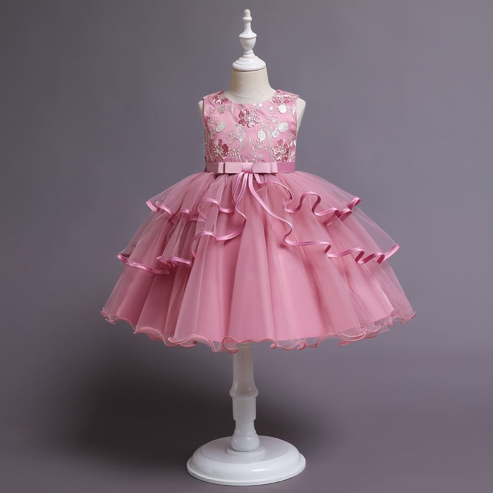 Children's dress, princess dress, girl's flower girl, wedding dress, pettiskirt, costume, piano, catwalk dress