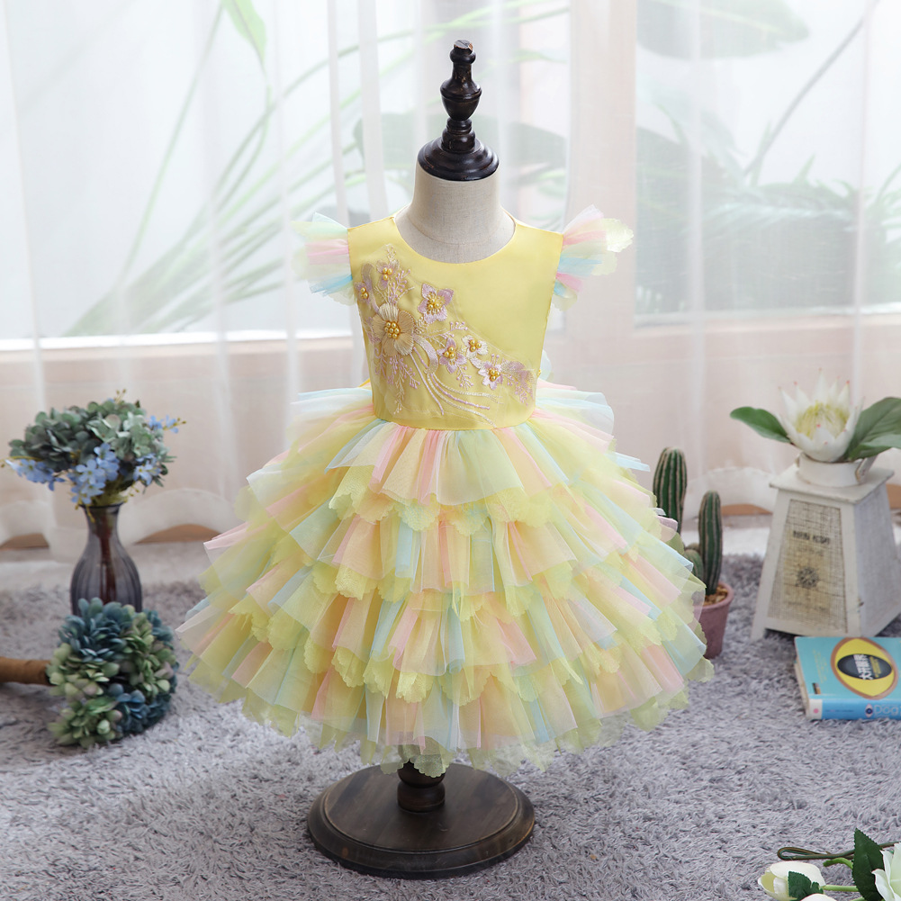 Baby girl clothes colorful net yarn cake puffy princess dress baby girl dress party dress birthday party dress flower girl dress