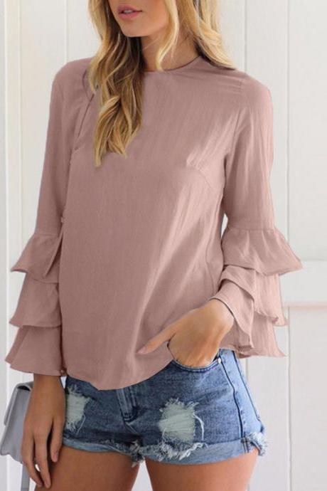 Casual Tops and Blouses For Women Spring Autumn Lady Round Neck Layered Long Flare Sleeve Elegant Blouse Colorlight coffee Color
