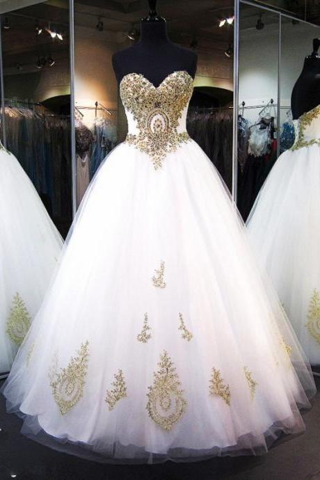 Romantic White Ball Gown Wedding Dresses 2017 Gold Lace Appliques Beaded Crystal Bridal Gowns Vestido de Noiva Wedding Gown