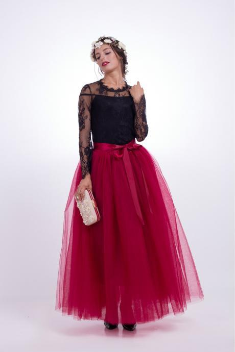 6 Layers Tulle Skirt Summer Maxi Long Muslim Skirt Womens Elastic Waist Lolita Tutu Skirts dark red