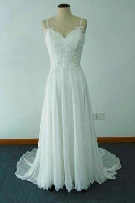 Elegant White A-line Long Sweep Train Chiffon Beach Wedding Dress with Lace, Simple Wedding Gowns, Prom Dresses