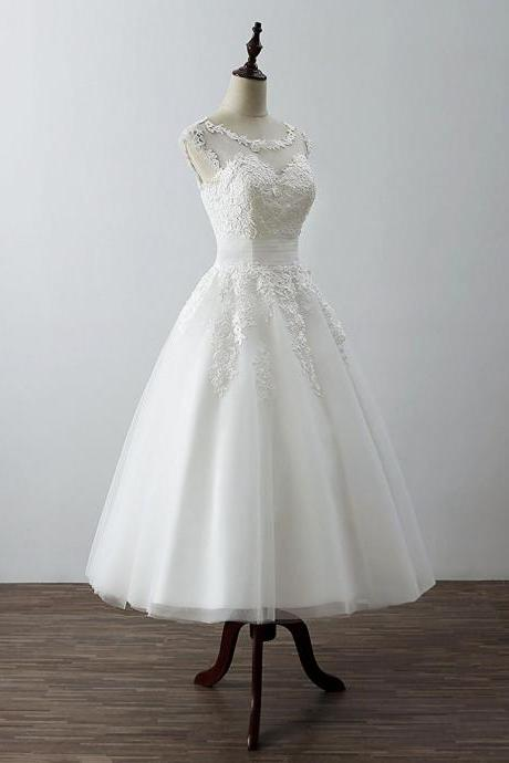 White Wedding Dresses, Tea Length Ball Tulle with Lace Applique Party Dresses, Simple Prom Dresses
